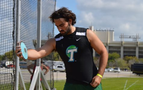 Sophomore Ryan Singer prepares for a throw. Singer and Tulane track and field will hit the road once again this weekend at the Victor Lopez Classic in Houston, Texas.