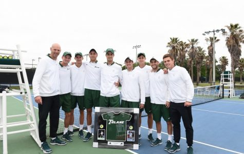 Tulane men's tennis celebrates the conclusion of its regular season after a 6-1 win over USF. The team will begin its postseason by taking part in the American Conference Championships beginning April 19.