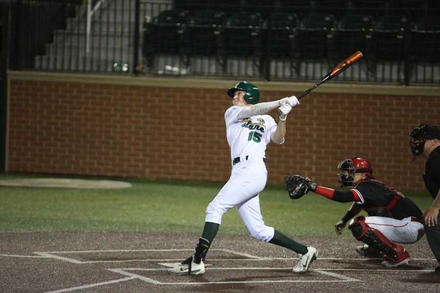 Tulane+baseball%E2%80%99s+Kody+Hoese+hits+a+game+tying+three-run+home+run+with+two+outs+in+the+ninth.+Hoese+and+the+rest+of+Green+Wave+baseball+will+be+back+in+series+play+at+home+this+weekend+against+East+Tennessee+State+University.