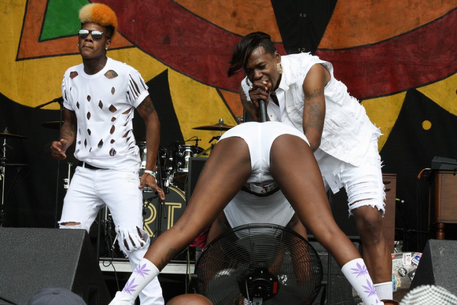 Big Freedia delivering a jaw-dropping performance at the New Orleans Jazz & Heritage Festival.