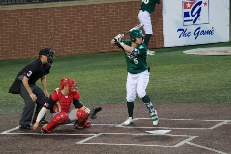 Senior Matt Rowland comes up to bat in a matchup against the ULL Ragin' Cajuns. Tulane will be looking to rebound from its recent series loss this coming weekend in a three-game tussle with the Houston Cougars.