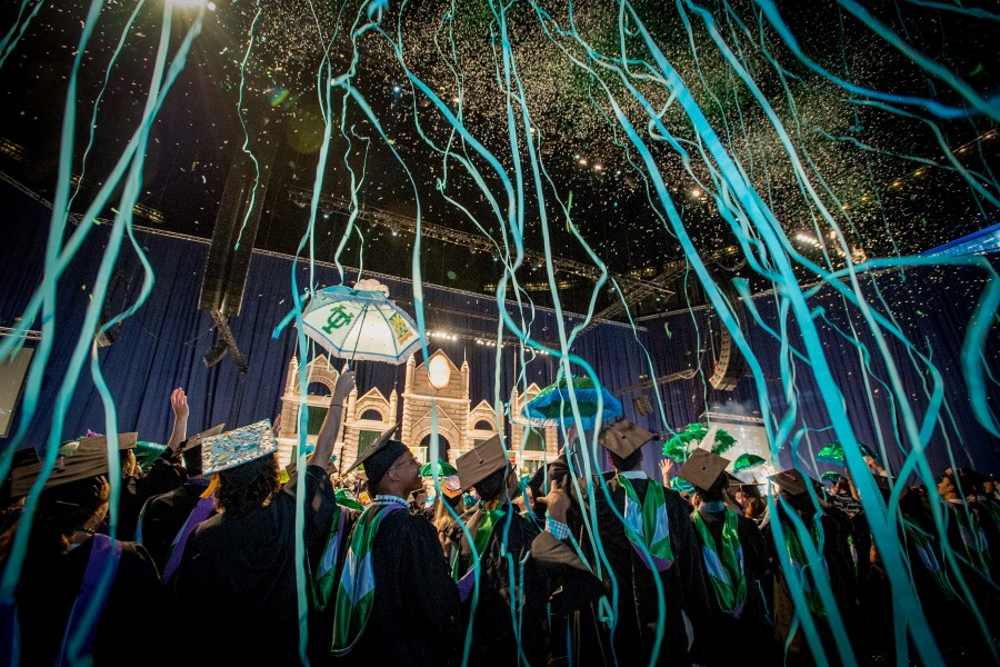 Streamers and confetti rain down on graduates at the conclusion of the ceremony on Saturday, May 19, 2018. Courtesy of Paula Burch-Celentano, Tulane University