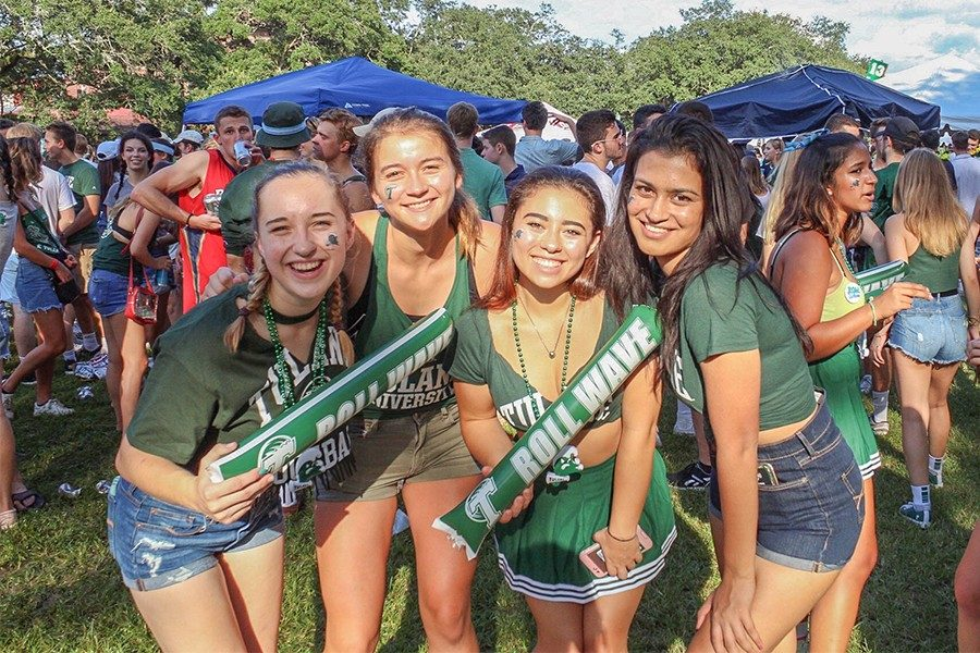 Four girls attend a tailgate