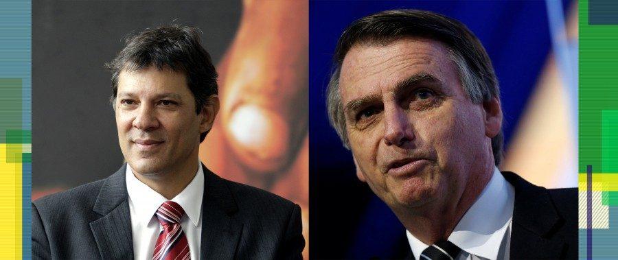 Left: Fernando Haddad; right: Jair Bolsonaro