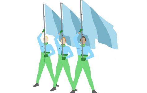 Whirls of Color: Tulane University's color guard