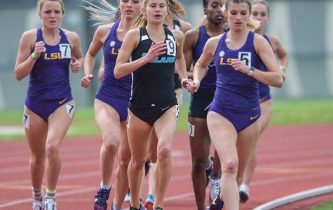 Mckenzie Melius, pictured here in the midst of track season, led the women's cross country team to a first place finish.