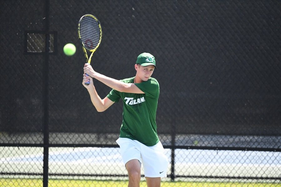 Ready for a successful season, senior Luis Erlenbusch practices in preparation for the Crimson Tide Four-in-the-Fall-Tournament hosted by University of Alabama.
