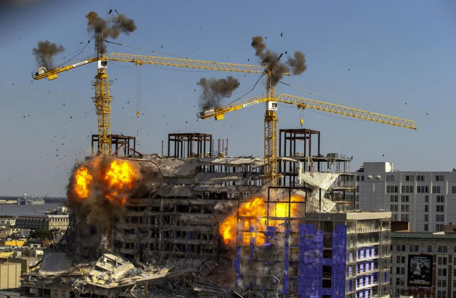 On+Oct.+20%2C+city+officials+imploded+two+cranes+on+hanging+above+the+Hard+Rock+Hotel%27s+partially+collapsed+construction+site