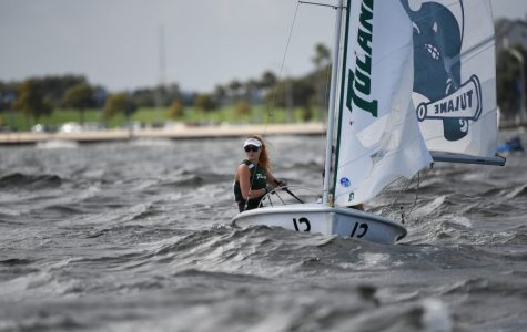 Sophomore Ciara Rodriguez-Horan participates in a regatta for the Green Wave sailing team.