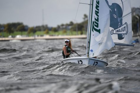 Sophomore Ciara Rodriguez-Horan participates in a regatta for the Green Wave sailing team.