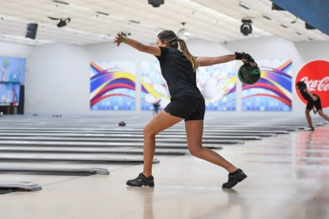 Madison McCall bowls in a tournament.