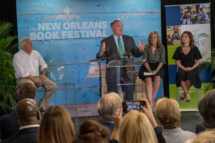Mike Fitts kicks off a press conference announcing the New Orleans Book Festival | Courtesy of Tulane University