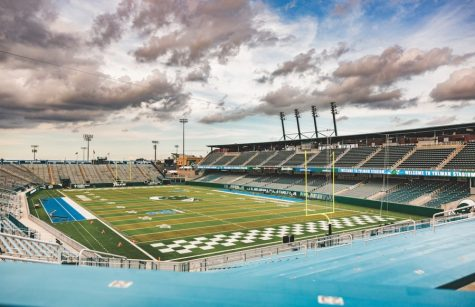 The bleachers of Yulman Stadium sit empty. Some Green Wave fans are disappointed with the student body for its low attendance during football games.
