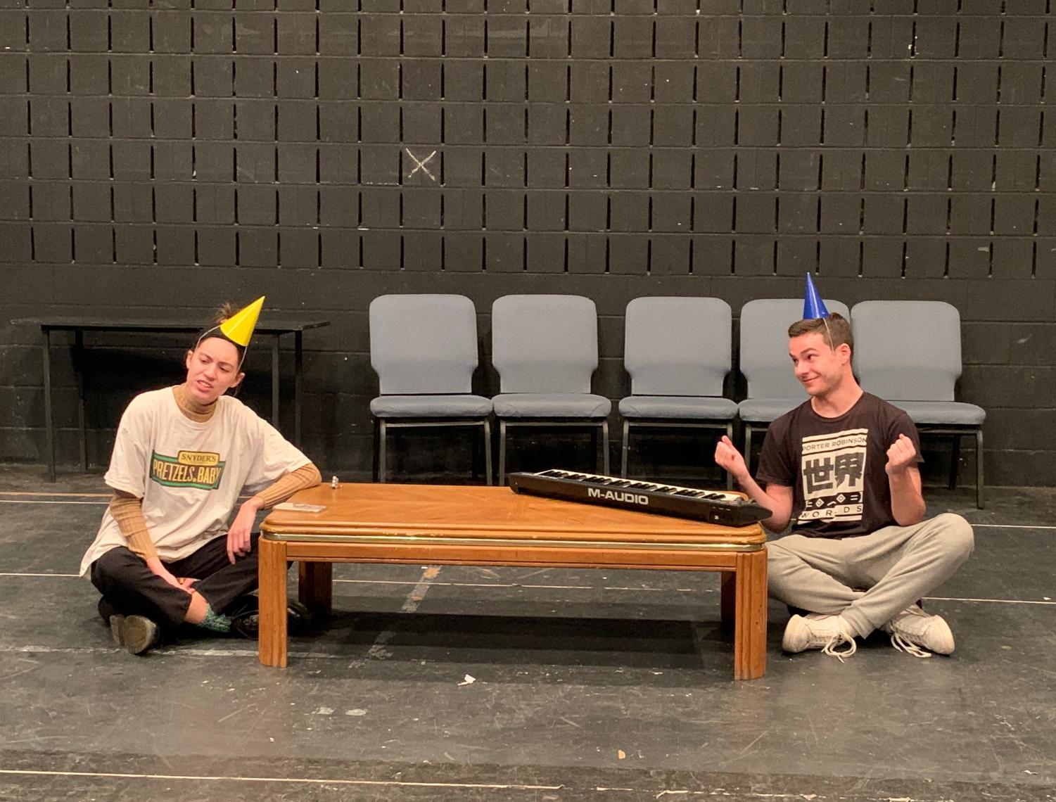 Member of comedy group Office Hours rehearses a sketch for their performances later this week.