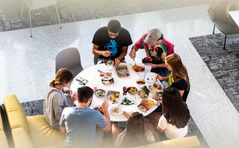 Students enjoying food at the Commons