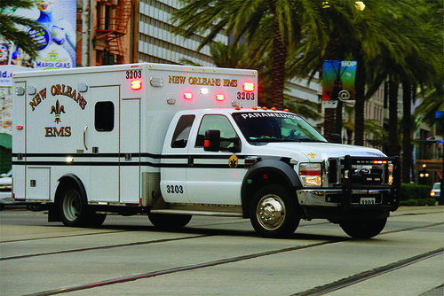 A stock photo of a New Orleans Emergency Medical Services vehicle.