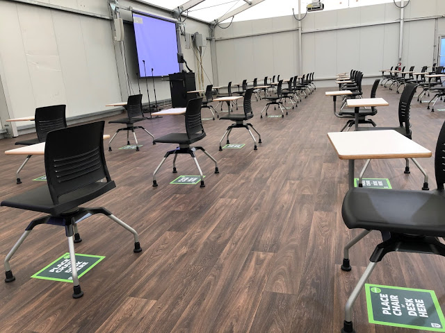 The interior of one of Tulane's 13 temporary classrooms.