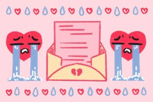 two hearts crying around a letter with broken hearts on the envelope of the breakup letter with the dean