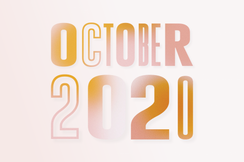 October 2020 drawn in orange lettering