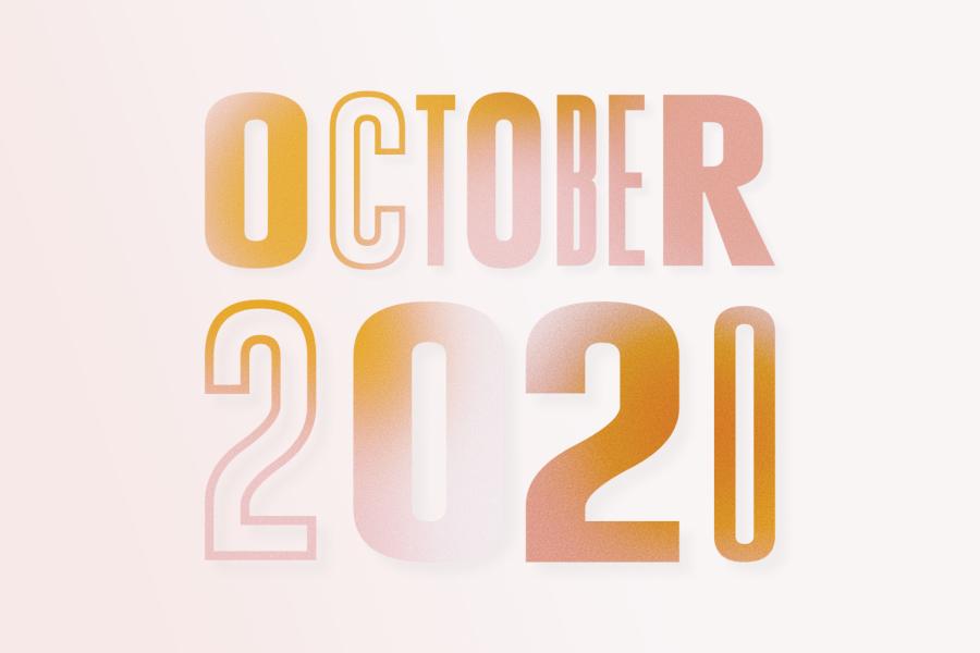 October 2020 drawn in orange lettering