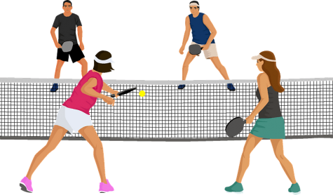 Pickleball, a cross between tennis, badminton and table tennis, is among the five in-person intramural sports offered this semester.