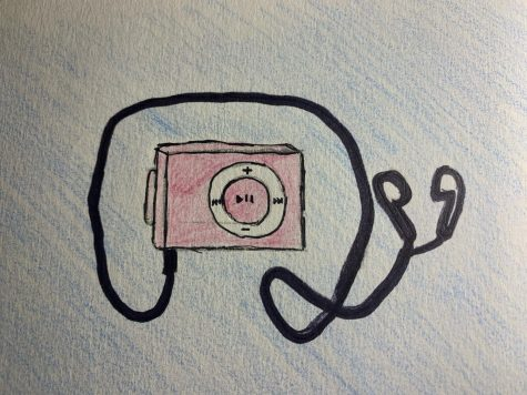 picture of an ipod shuffle with earbuds coming out of it
