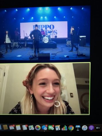 hippo campus performs on screen with host lucy sartor