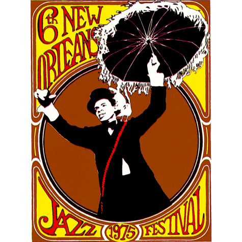 jazz fest poster of woman holding an umbrella
