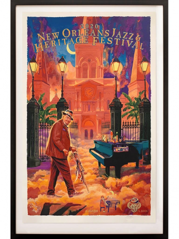 jazz fest poster feature man walking towards piano