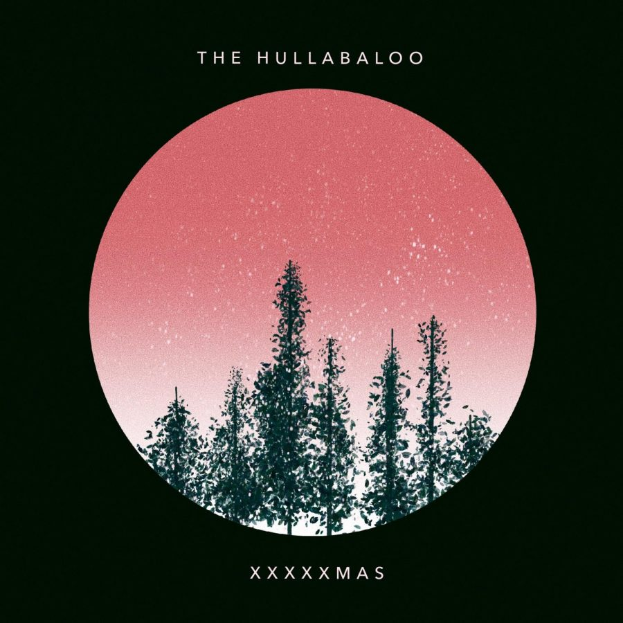 album cover for an alternative christmas album with pink circle full of trees and text the hullabaloo xxxxxmas