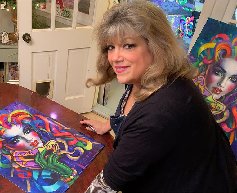 artist andrea mistretta is signing her 2021 MASKED commemorative Mardi Gras poster