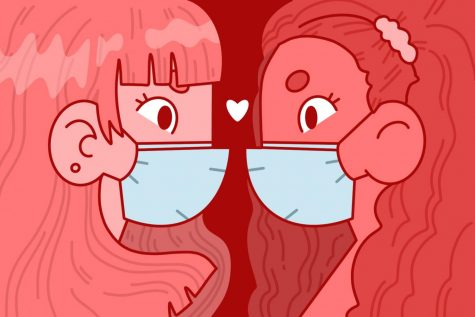 two females have masks on and are looking towards each other with a heart in between them with a red background