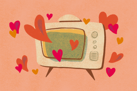 hearts coming out of a tv screen