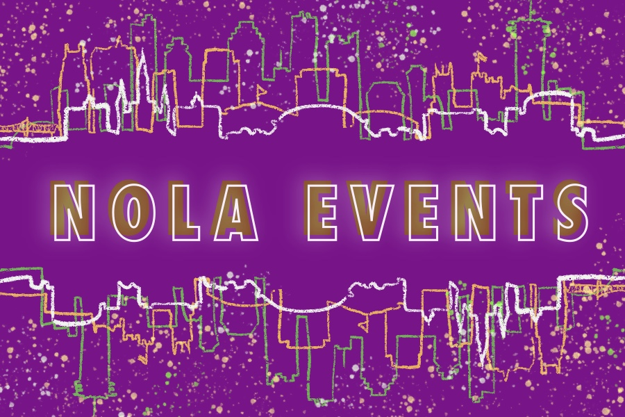outline of nola skyline with words nola events