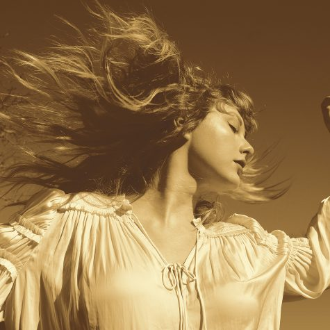 taylor swift swinging her hair in sepia