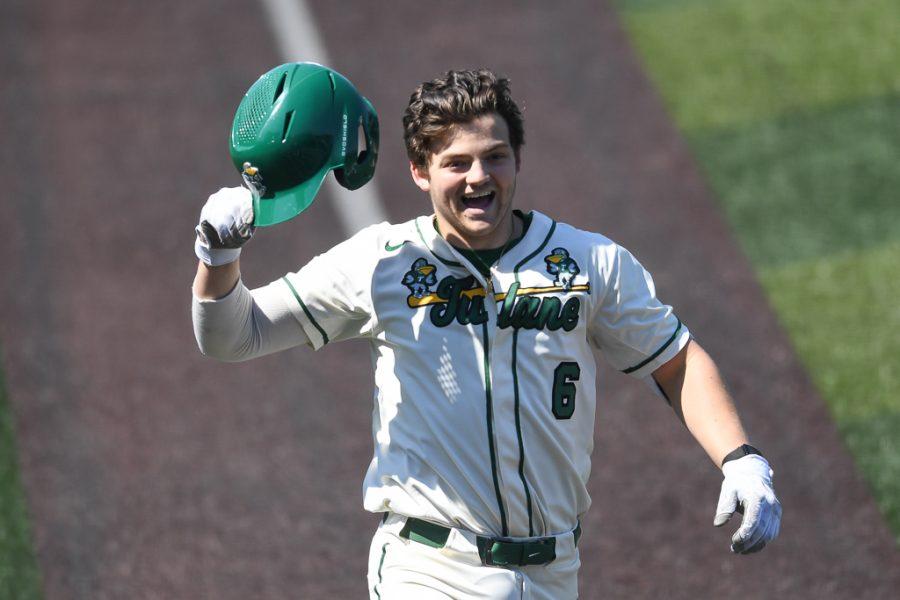 Freshman catcher Bennett Lee celebrates his first college home run against Western Kentucky.
