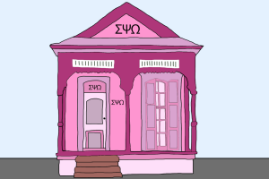 A sorority house representing the pervasive whiteness of greek life