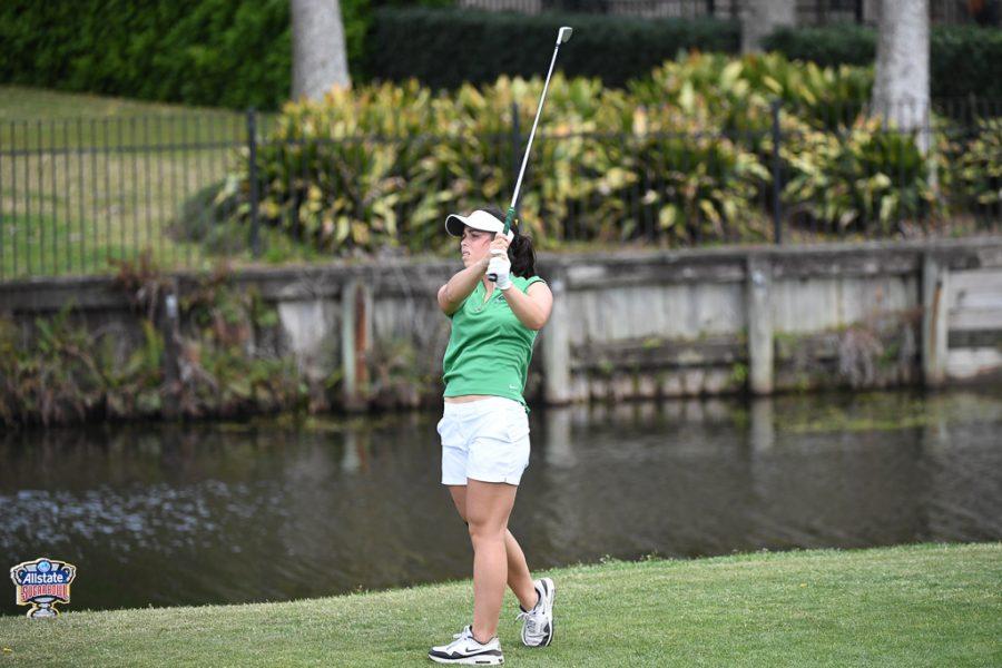 Sophomore Carlota Palacios tees off at the All State Sugar Bowl Intercollegiate.