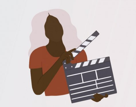 a drawing of a woman directed holding a film slate