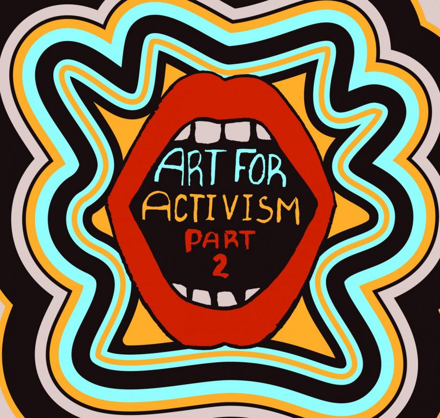 promotional poster for the second iteration of art for activism, a joint auction and art show