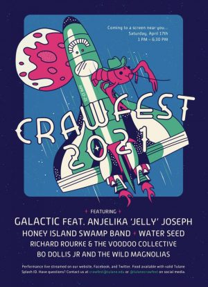 poster with rocket and crawfish with words crawfest 2021 and then list of bands