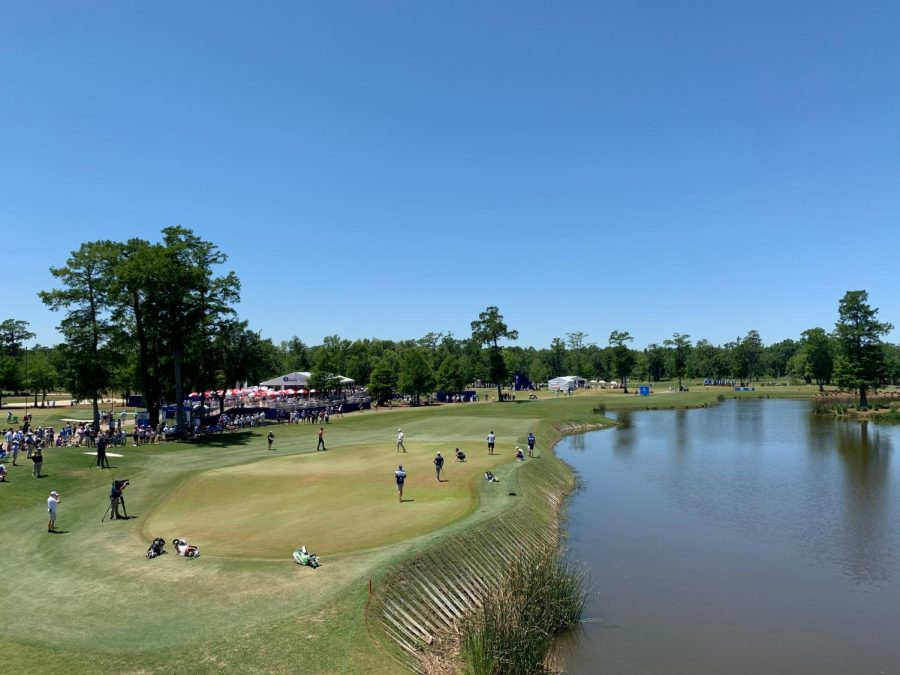 The par-3 17th hole at TPC Louisiana during round four of the Zurich Classic.