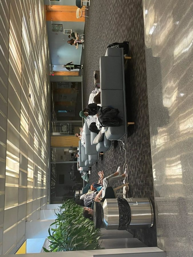 Remaining students on campus take shelter in the LBC (Amber Corb).