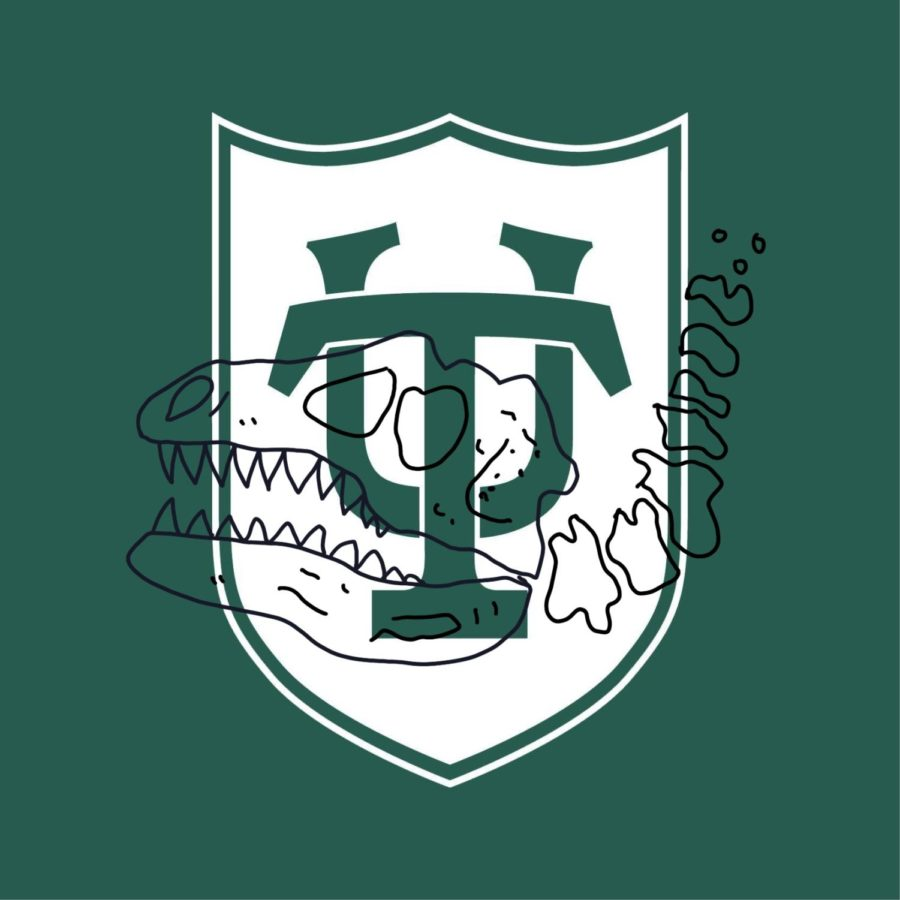 tulane logo with dinosaur skeleton could be future with climate crisis