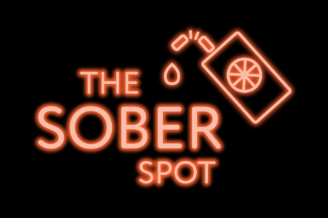 """Neon graphic that says, """"The Sober Spot,"""" with a picture of a drink carton."""