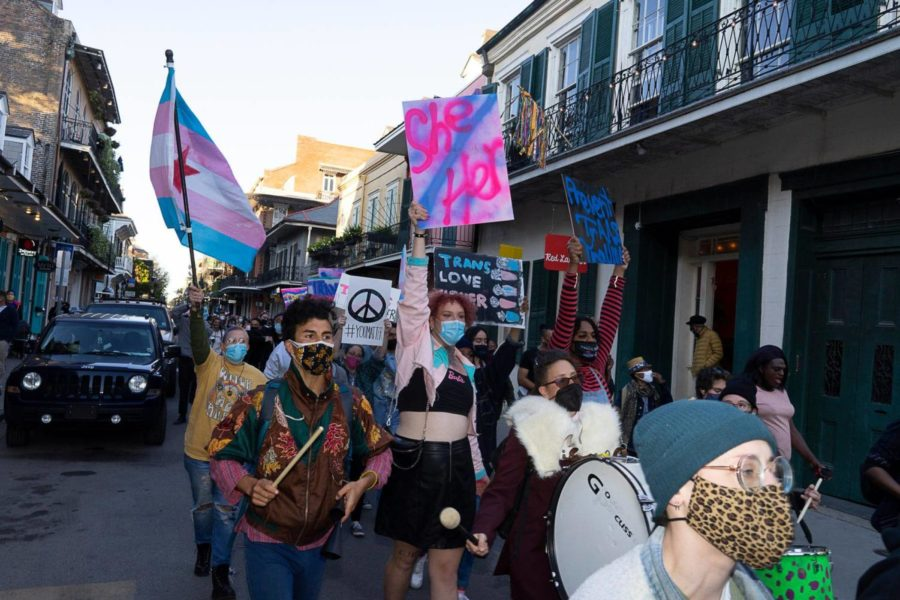 Real Name Campaign supporters march during the Transgender Day of Visibility Rally in April 2021.