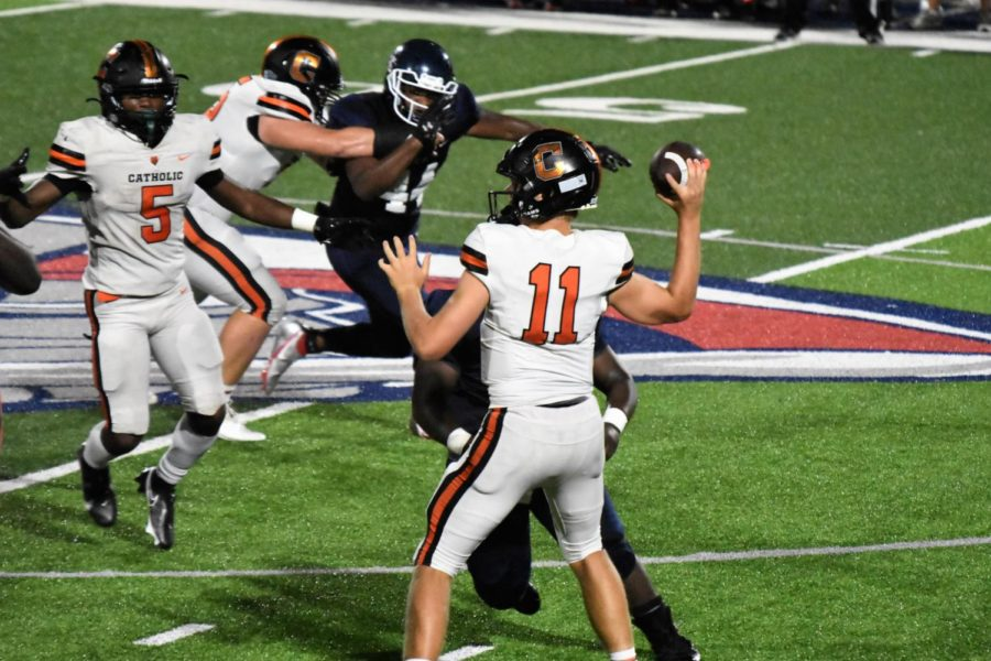 Bears sophomore QB Daniel Beale completed 13 of 24 passes, throwing for 220 yards and three touchdowns against LCA.