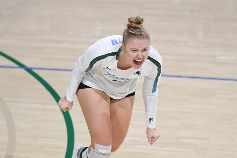 Sophomore Mackenzie Martin wore the Libero jersey for the first time in her career against Memphis, recording 22 digs and an ace in the teams win.