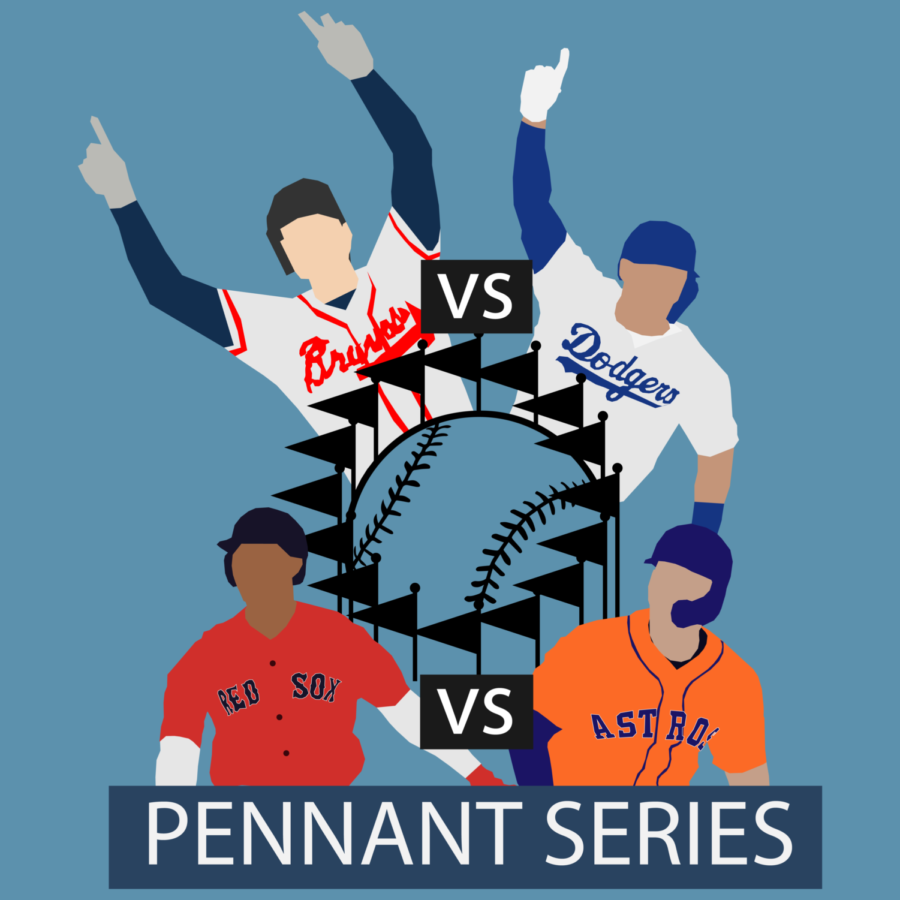 The Dodgers and Braves are set to face each other for the NL title, while the Astros and Red Sox are fighting for the AL pennant.